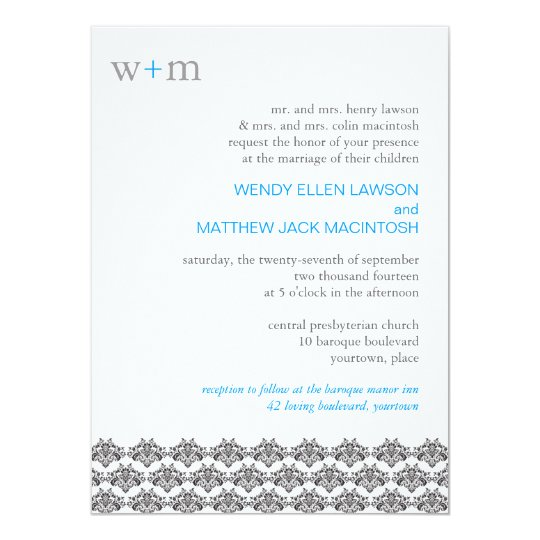 Damask Simplicity Wedding Invitation