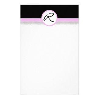 Damask Single Line Pink Monogram Stationery
