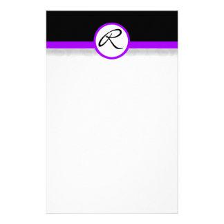 Damask Single Line Purple Monogram Stationery