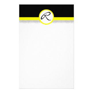 Damask Single Line Yellow Monogram Stationery