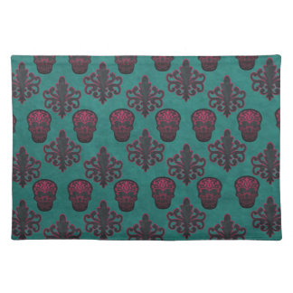DAMASK SKULL HOT PINK ON TEAL CLOTH PLACEMAT