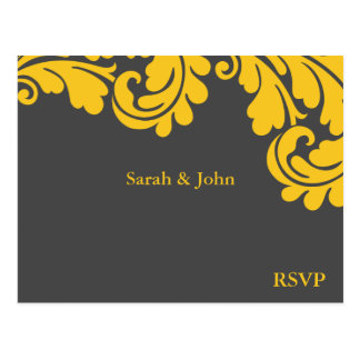 Damask Slate Grey and Strong Yellow RSVP Postcard