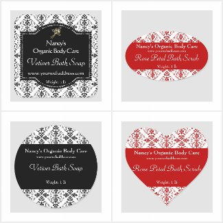 Damask Soap Labels
