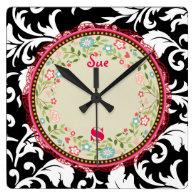 Damask SoapBox Pink Ribbon Square Wall Clock (<em>$40.65</em>)