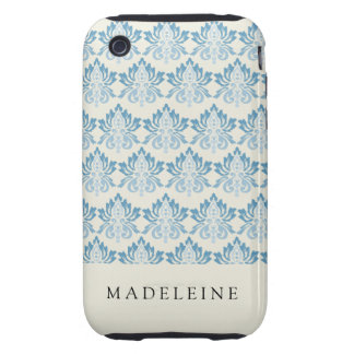 Damask Soft Blue iPhone 3 Tough Cover