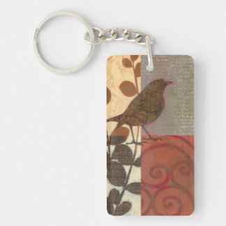 Damask Sparrow Double-Sided Rectangular Acrylic Keychain