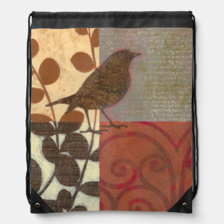 Damask Sparrow Drawstring Backpack