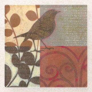 Damask Sparrow Glass Coaster