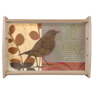 Damask Sparrow Serving Tray
