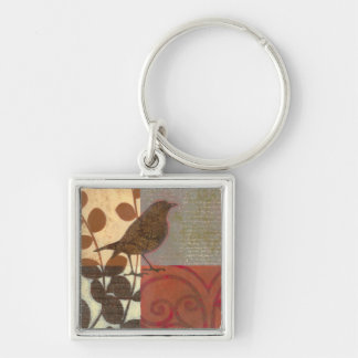 Damask Sparrow Silver-Colored Square Keychain