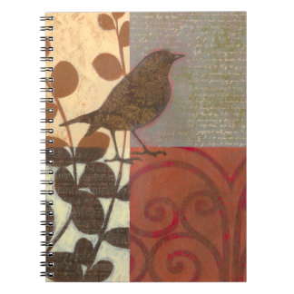 Damask Sparrow Spiral Notebook