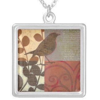 Damask Sparrow Square Pendant Necklace