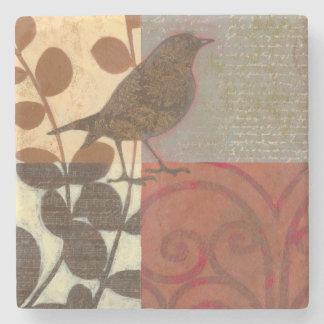 Damask Sparrow Stone Coaster