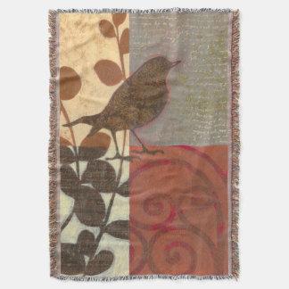Damask Sparrow Throw Blanket