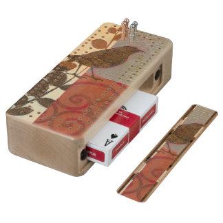 Damask Sparrow Wood Cribbage Board