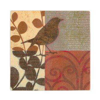 Damask Sparrow Wooden Coaster