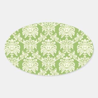 Damask - Spring Green Oval Sticker