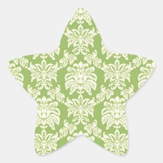 Damask - Spring Green Star Sticker