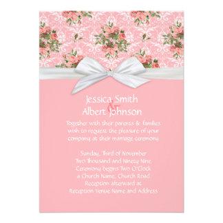 Damask Spring Pink Roses Wedding Invite