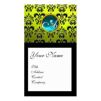 DAMASK SQUARE MONOGRAM,blue aquamarine yellow Business Card Templates