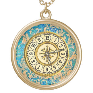 Damask Steampunk Clock Face Design Necklace