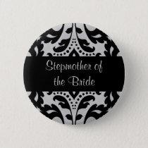 Damask stepmother bride pinback button