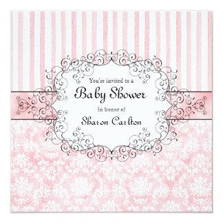 "Damask & Stripe Baby Girl Shower Invitation 5.25"" Square Invitation Card"