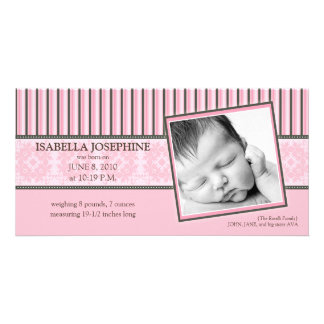 Damask & Stripes Baby Pink Birth Announcement