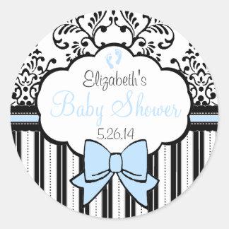 Damask Stripes Blue Bow Baby Shower Classic Round Sticker