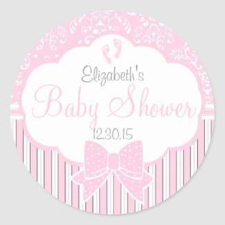 Damask, Stripes Footprints Pink Baby Shower Classic Round Sticker