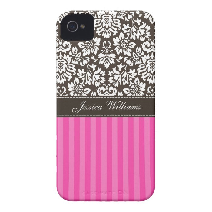 Damask & Stripes iPhone 4 Cover