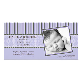 Damask & Stripes Lilac Birth Announcement