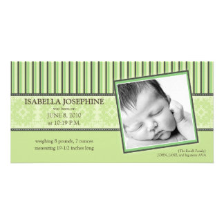 Damask & Stripes Lime Green Birth Announcement