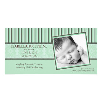 Damask & Stripes Mint Green Birth Announcement