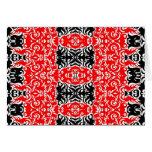 Damask Style Art Design Black Red Blank Inside Card