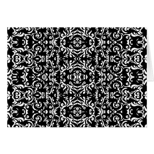 Damask Style Art Design Black White Blank Inside Greeting Card