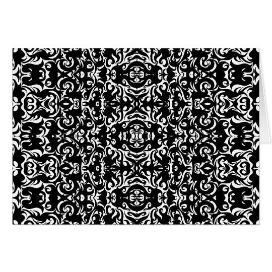 Damask Style Art Design Black White Blank Inside Card