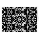 Damask Style Art Design Black White Blank Inside Greeting Cards