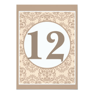 """Damask Style Table Number Card 4.5"""" X 6.25"""" Invitation Card"""