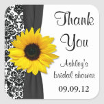 Damask Sunflower Wedding Bridal Shower Thank You Square Sticker