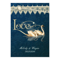 Damask Swan Elegance Blue - Wedding Invitation