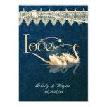 Damask Swan Elegance Blue - Wedding Invitation Invitations