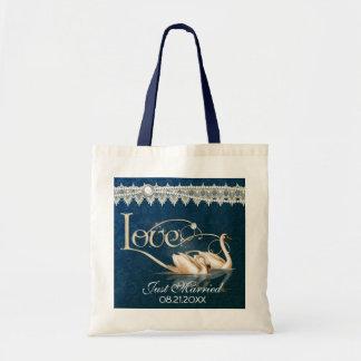 Damask Swan Elegance Blue Wedding Tote Bag