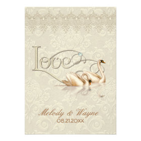 Damask Swan Elegance Ivory - Wedding Invitation