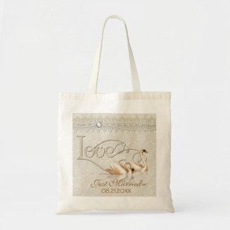 Damask Swan Elegance Ivory Wedding Tote Bag