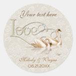 Damask Swan Elegance Round Sticker