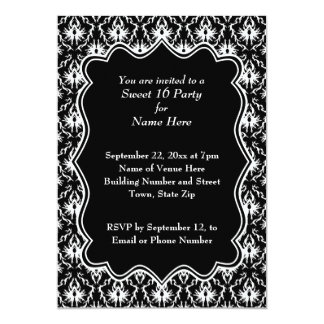 Damask Sweet 16 in Black and White. 5x7 Paper Invitation Card