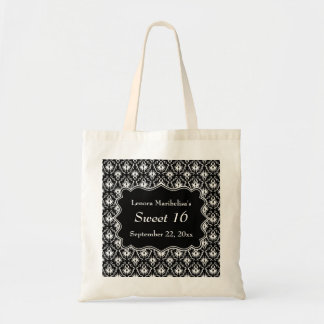 Damask Sweet 16 in Black and White. Tote Bag
