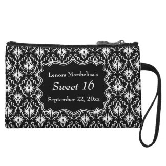 Damask Sweet 16 in Black and White. Wristlet