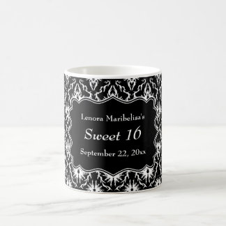 Damask Sweet 16 in Black and White. Coffee Mug